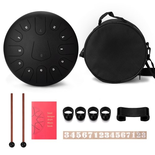 10 Zoll 8 Tone Steel Tongue Drum Hand Pan Drums mit Drumsticks Percussion Musikinstrumenten