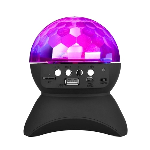 muslady Wireless BT Music Speaker Colorful LED Crystal Rotating Ball Light