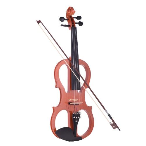 ammoon Full Size 4/4 Massivholz Elektrische Silent Violine Geige Style-1