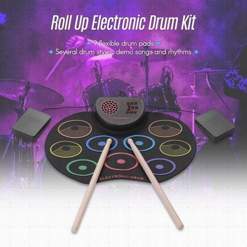 Portable Electronic Drum Set USB Roll Up Drum Pad Kit 9