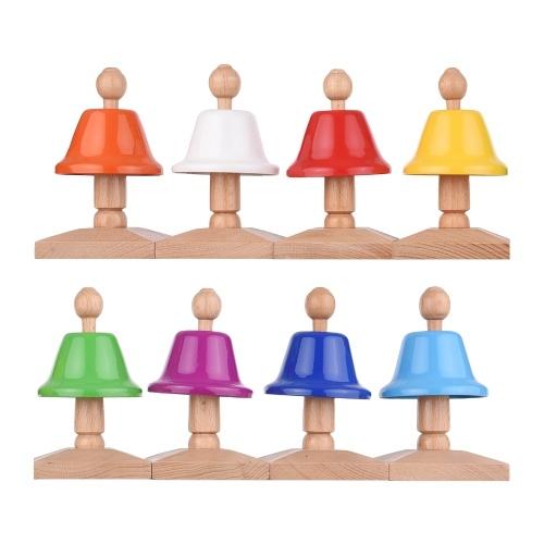 Cloche à percussion colorée 8 notes Set 8pcs Handbell Hand Bells Desk Bells