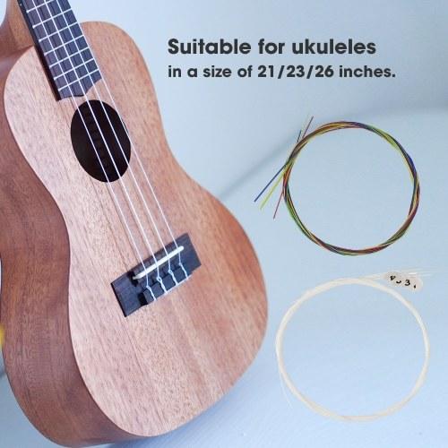 4Pcs/Set Ukulele Strings for 21-Inch / 23-Inch / 26-Inch Ukulele Colorful Strings