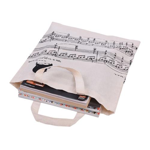 Musiknotation Muster Waschbare Baumwolltuch Handtasche Musik-Taschen-Schulter-Lebensmittelgeschäft-Einkaufstasche für Studenten Mädchen