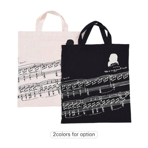 musiknotation muster waschbare baumwolltuch handtasche musik taschen schulter. Black Bedroom Furniture Sets. Home Design Ideas