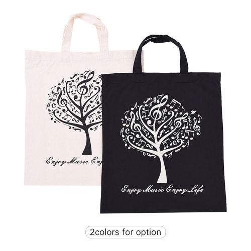 学生の女の子のためのミュージカル木パターン洗える綿布ハンドバッグ音楽トートショルダー食料品ショッピングバッグ
