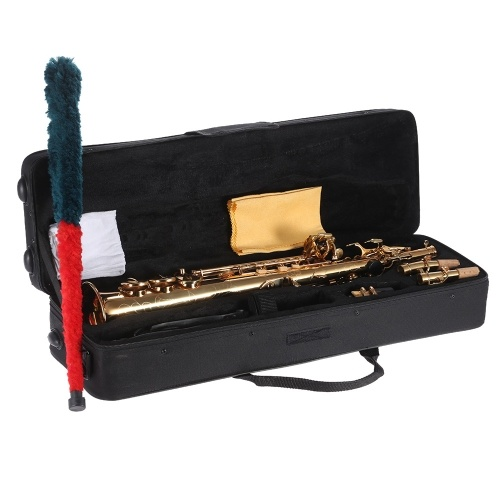 Bb B Soprano Sax Saxophone Brass Straight Flat Woodwind Instrument Natural Shell Key Carve Pattern with Carrying Case Gloves Cleaning Cloth Straps Cleaning Rod