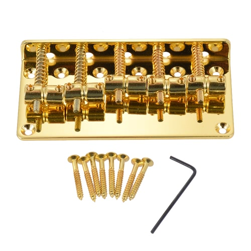 5-saddle Bridge Set for 5 String Electric Bass Guitar Part Replacement Golden
