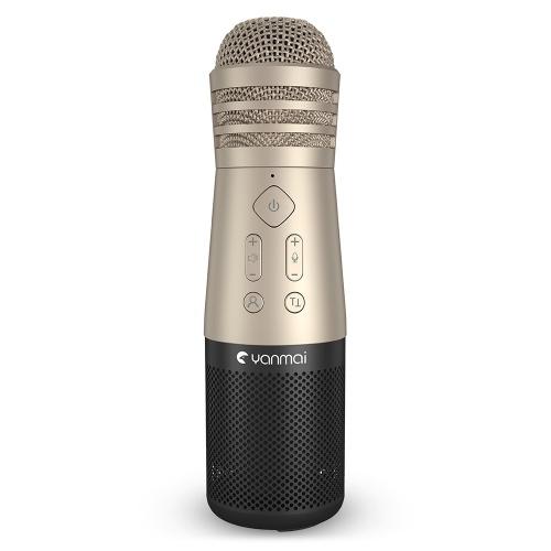 Yanmai SF-999 Drahtloses Handmikrofon Mikrofon Smartphone Karaoke-Player 6 Soundeffekte Eingebauter Lautsprecher-Akku