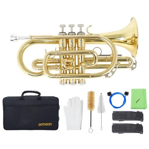 Instrumento de viento de latón con corneta plana Sib profesional ammoon