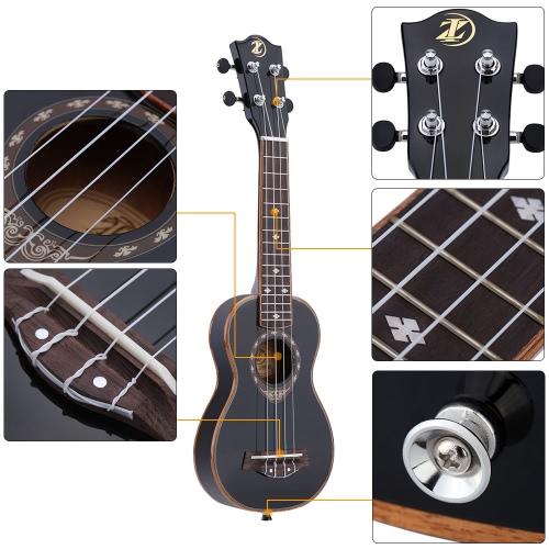 "21"" Soprano Ukulele 4 Strings Spruce Ukulele Ultrathin Special Black Color"