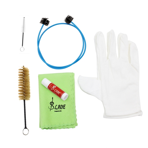 Brasswind Instrument Trumpet Trombone Tuba Horn Cleaning Set Kit Tool with Cleaning Cloth Brush Gloves