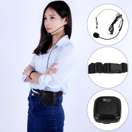 25W Multifunctional Mini Waistband Portable Voice Amp Amplifier Loudspeaker FM Radio Echo Control with Headset Microphone Surporting Micro SD/TF Card MP3 Format