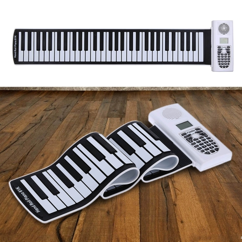Portable 61 Thickening Keys Hand Roll Up Piano Soft Keyboard Piano with LCD Display