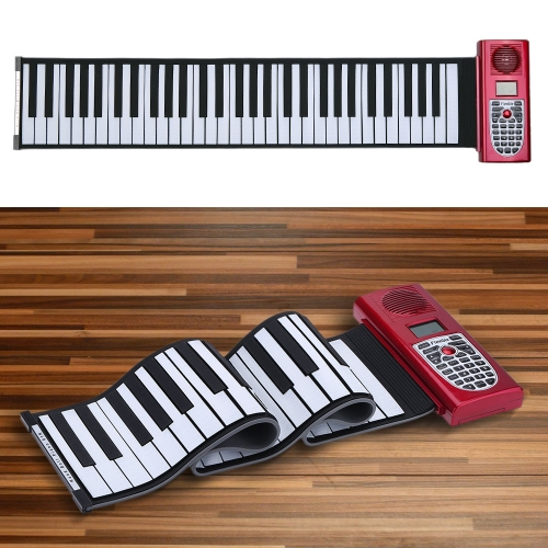 Portable 61 Standard Keys MIDI Roll Up Piano Soft Keyboard Piano with LCD Display