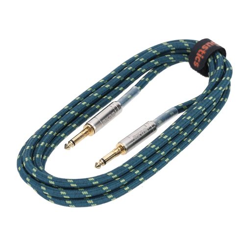 3m / 10ft Braided Tweed Guitar Bass Instrument Cable Patch Lead 6.35mm Mono Jack Plug