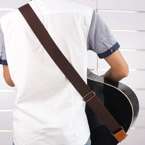 IRIN verstellbarer Gürtel gewebte Baumwolle Gitarrengurt mit Leder für Elektro akustische Folk Gitarren endet komfortabel und langlebig