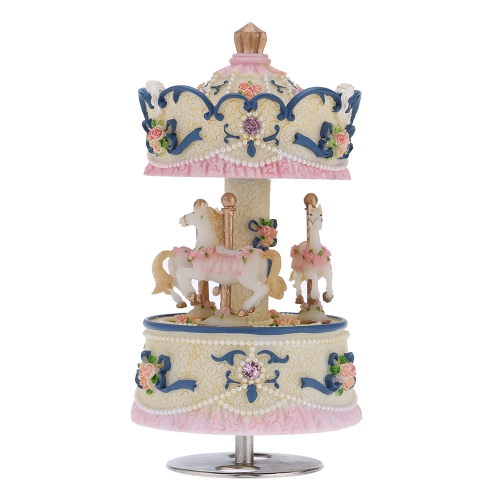 Laxury Windup 3-horse Carousel Music Box Creative Artware/Gift Melody Castle in the Sky Pink/Purple/Blue/Gold Shade for Option I1153BL