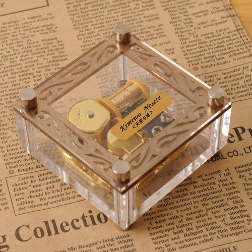 Acrylic Cubic Musical Box Windup Music Box with Patterns on Top 18 Notes Movement Gold Melody Castle in the Sky