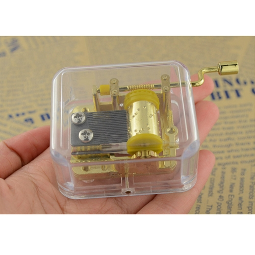 Unique Musical Box Acrylic Hand Crank Music Box Golden Movement Melody Castle in the Sky