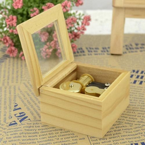 Windup Musical Box Gold Movement Parts Music Box Wooden Music Box