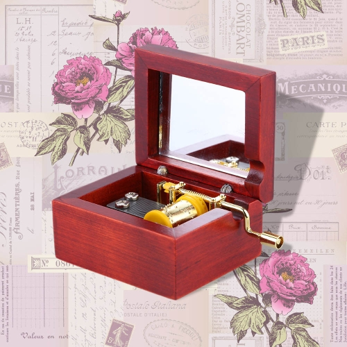 Red Wood Musical Box Hand Crank Gold Movement Music Box with Built-in Mirror Melody Castle in the Sky