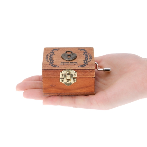 Retro Wooden Musical Box Hand Crank Music Box Exquisite Workmanship 4 Patterns for Option