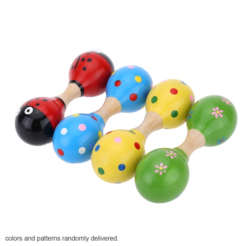 Colorful Wooden Rattle shaker Maraca Sound Musical Instrument Toy Gift for KTV Party Kids Baby