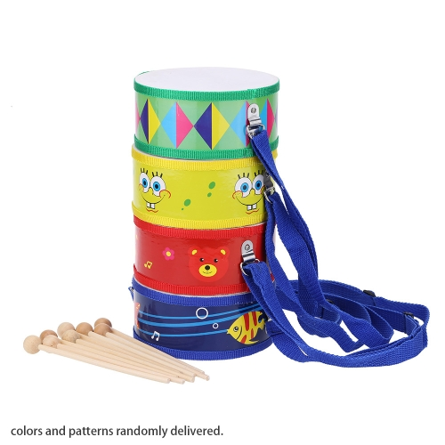Colorful Cute Wooden with Plastic Paper Snare Drum Sound Beat Musical Instrument Toy Gift for Baby Kid Child Beginner
