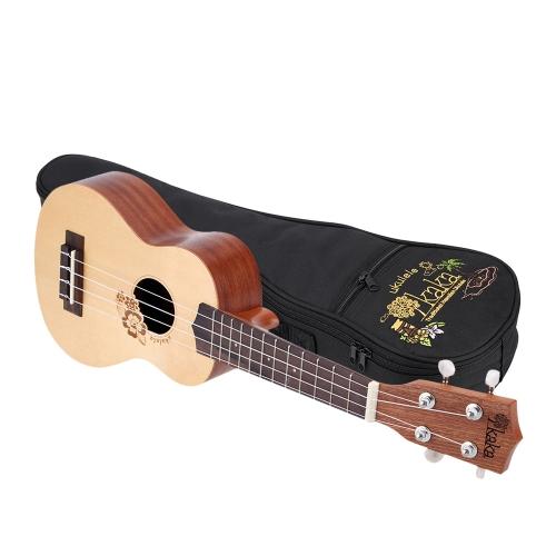 KaKa KUS-FL 21インチのソプラノ4弦ウクレレ スプルース彫刻されたトップ ストラップのロックボタン付きのサペリバッ  ク&サイド 厚いバッグ付き 子供、初心者、音楽愛好者に適用