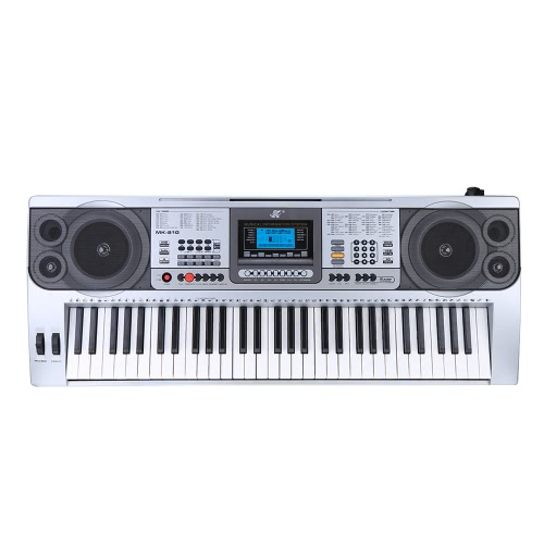 61 Keys Multifunctional LCD Display Digital Keyboard Electric Piano Organ with USB Music Playing Status Memory Pitch Bend Vibrato Wheel Sheet Music Holder Gift for Beginners Music Lovers