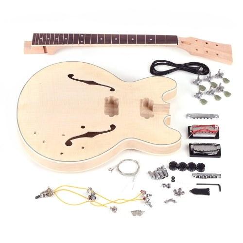 Deuxième main Unfinished DIY Kit de guitare électrique Semi-creux corps tilleul Touche palissandre manche en érable