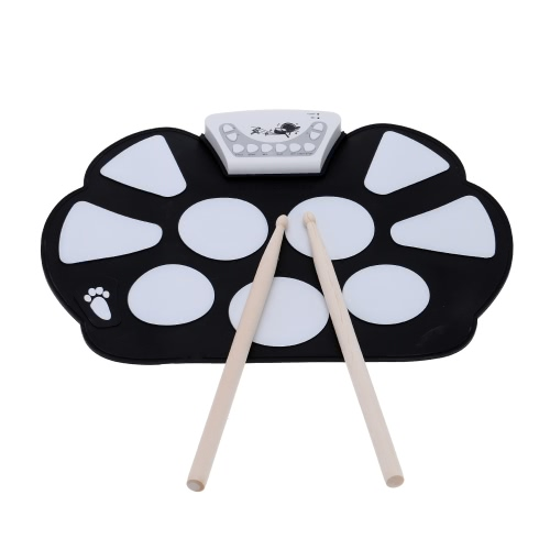 Tragbare elektronische Roll-Up Drum Pad Kit Silikon faltbar mit Stick