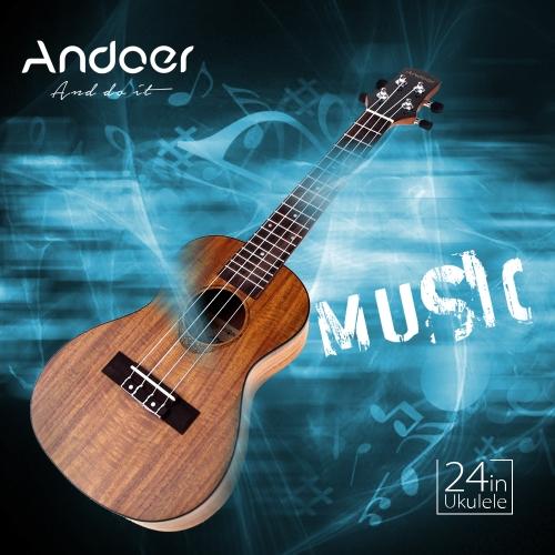 Andoer 24'' Compact Ukelele Ukulele Hawaiian Acacia Aquila Rosewood Fretboard Bridge Concert Stringed Instrument 4 Strings with Gig Bag