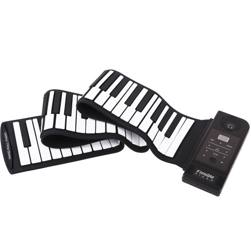 88 Key Electronic Piano Keyboard Silicon Flexible Roll Up Piano USB Port with Sustain Pedal Loud Speaker