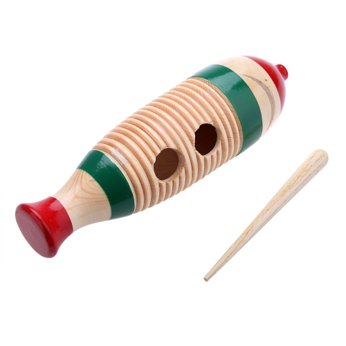 Wooden Guiro Fish-Shaped Colorful Kid Children Musical Toy Percussion Instrument
