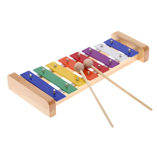 ammoon Wood Pine Xylophone 8-Note 3mm Colorful Aluminum Plate C Key Percussion Toddle Kid Musical Toy