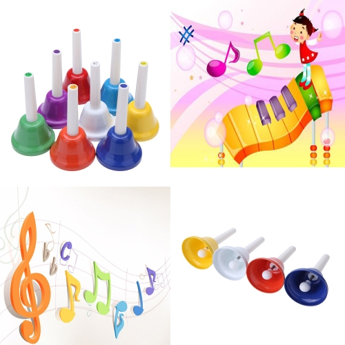 Handbell Hand Bell 8-Note Metal Colorful Kid Children Musical Toy Percussion Instrument