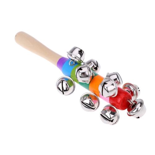 Hand Held Bell bastoncino in legno con 10 metallo Jingle Ball arcobaleno variopinto percussioni giocattolo musicale per KTV bambini del partito gioco