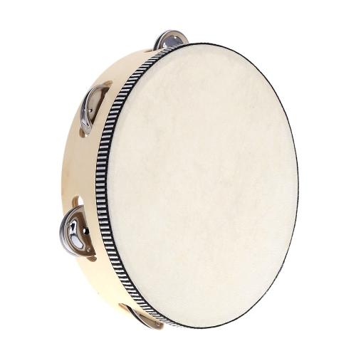 """8 """"Ręcznie trzymane Tamburyn Drum Bell Brzoza Metal Jingles Instrumenty Perkusyjne Edukacyjne Zabawki Instrument dla KTV Party Gry dla Dzieci"""