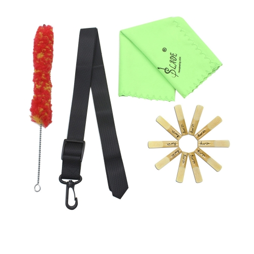 Andoer Clarinet Adjustable Neck Strap Bamboo Reed Cleaning Cloth Brush  Accessories Kit