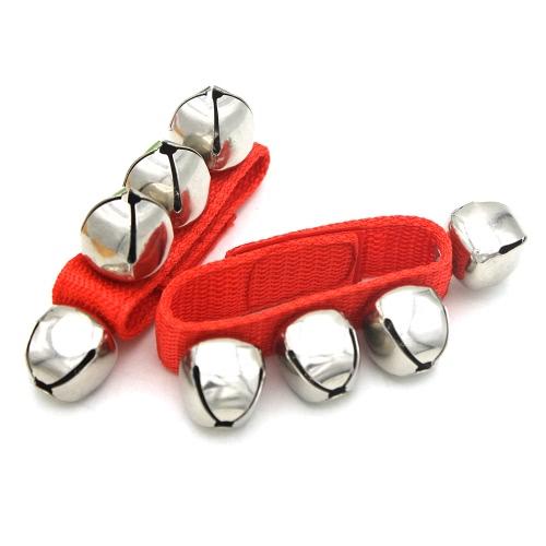 Ein Paar Metalle Klingeln Glocken Armbänder Handgelenk Tamburine mit Nylon Klettverschluss Schlaginstrumente für KTV Partys Kinder Spiel