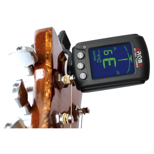 Aroma AT-350 Clip-on Electric Tuner TWO Colors Backlit LCD Screen for Chromatic Guitar Bass Violin Viola Tuner Universal Portable