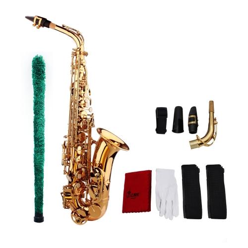 Saksofon Saksofonowy Eb Be Alto E Płaski Mosiądz Rzeźbiony Wzór na Powierzchniowej