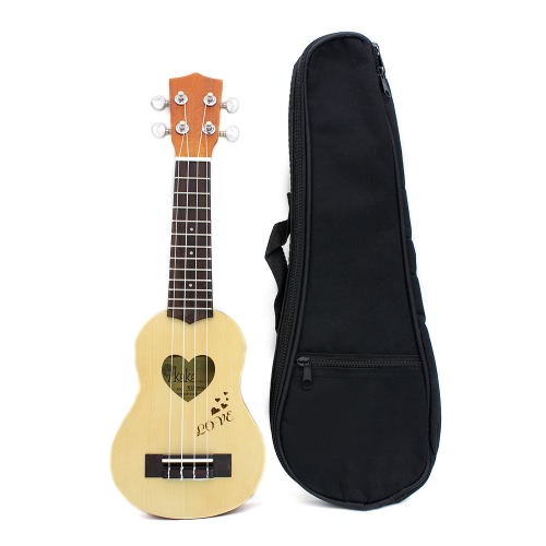 "17"" Mini Ukelele Ukulele Spruce/Sapele Top Rosewood Fretboard Stringed Instrument 4 Strings with Gig Bag"