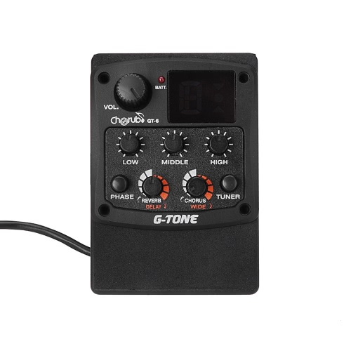 Cherub G-Tone GT-6 Acoustic Guitar Preamp Piezo Pickup 3-Band EQ Equalizer LCD Tuner