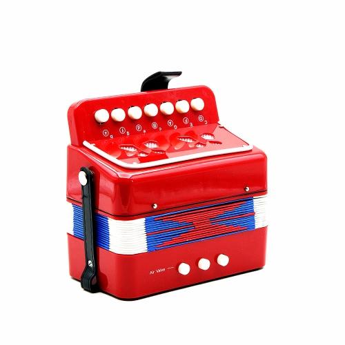 Andoer® Kinder 7-Key 2 Bass Mini Kleines Akkordeon Pädagogisches Musikinstrument Rhythm Band Spielzeug