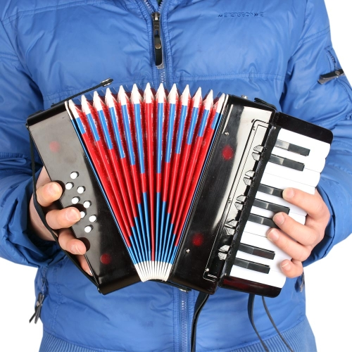 Kids Children 17-Key 8 Bass Mini Small Accordion Educational Musical Instrument Rhythm Band Toy