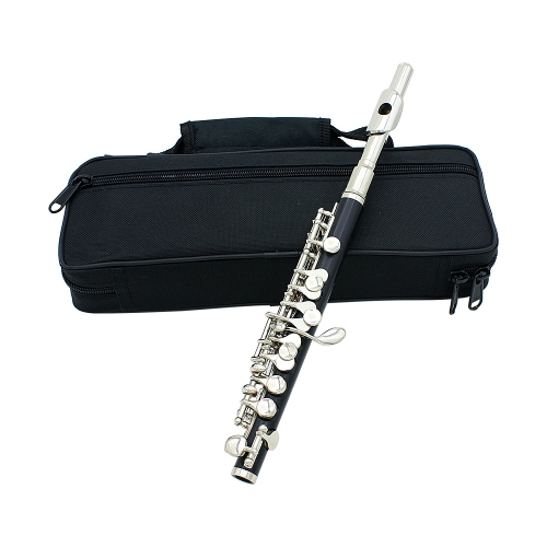Piccolo Ottavino Half-size Flute Cupronickel Silver Plated C Key Tone with Cork Grease Polish Cloth Cleaning Stick Padded Box  Case Screwdriver I919S