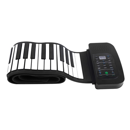 Portable 88 Keys Silicone Flexible Roll Up Piano Foldable Keyboard Hand-rolling Piano with Battery Sustain Pedal (US plug)