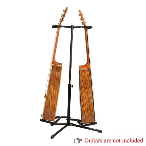 Andoer® DoppeleGitarrenständer Abnehmbarer Faltender Einstellbarer für Akustische Elektrische Gitarre Bass